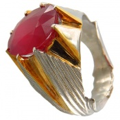انگشتر یاقوت سرخ آفریقایی درشت و خوش رنگ مردانه