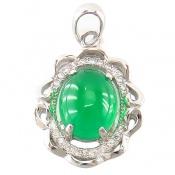 مدال نقره نگین سبز طرح کیانا زنانه