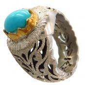 انگشتر فیروزه نیشابوری خوش طبع و رنگ درشت سلطنتی مردانه