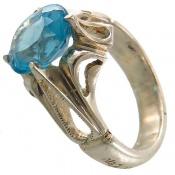 انگشتر توپاز آبی فاخر هنر استاد شرفیان مردانه
