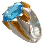 انگشتر توپاز آبی درشت مرغوب و سلطنتی مردانه