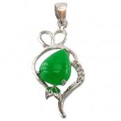 مدال نقره خوش رنگ طرح قلب فانتزی زنانه