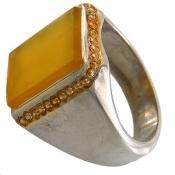 انگشتر عقیق زرد شرف الشمس هنر استاد شرفیان مردانه