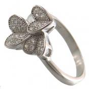 انگشتر نقره فانتزی طرح گل زنانه