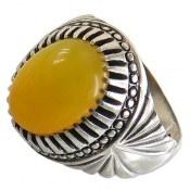 انگشتر عقیق زرد شرف الشمس درشت مردانه