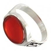 انگشتر عقیق قرمز خوش رنگ رکاب طرح علی