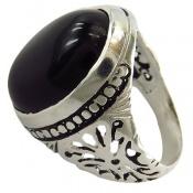انگشتر عقیق سیاه درشت خوش رنگ مردانه