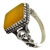 انگشتر عقیق زرد شرف الشمس طرح شهریار