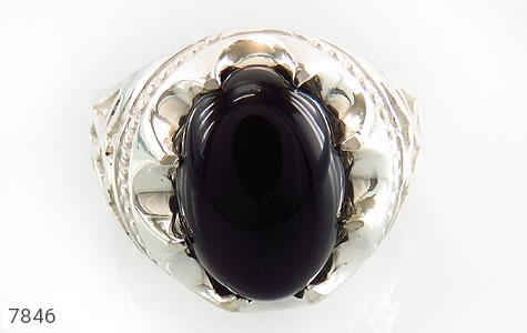 انگشتر عقیق سیاه خوش رنگ مردانه - عکس 3