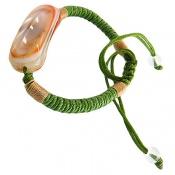 دستبند عقیق باباقوری خوش رنگ بند سبز