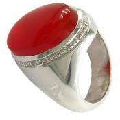 انگشتر عقیق یمن قرمز خوش رنگ درشت مرغوب مردانه