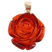 مدال نقره کهربا پودری طرح گل زنانه