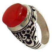 انگشتر عقیق قرمز یمن خوش رنگ برجسته مردانه