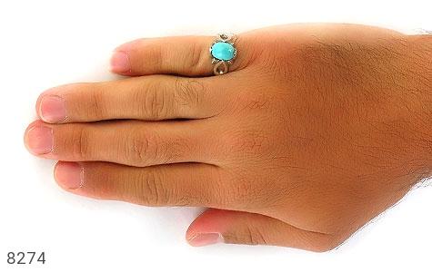 انگشتر فیروزه نیشابوری رکاب دست ساز - تصویر 6