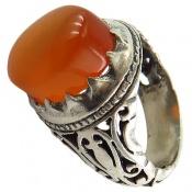 انگشتر عقیق یمن شرف الشمس پرتقالی خوش رنگ برجسته مردانه