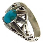 انگشتر فیروزه نیشابوری آبی خوش رنگ مردانه