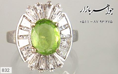 انگشتر زبرجد طرح شکوفه زنانه - تصویر 2