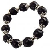 دستبند عقیق سیاه تراش خورده زنانه