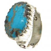 انگشتر فیروزه نیشابوری آبی خوش طبع درشت مردانه