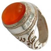 انگشتر عقیق یمن پرتقالی خوش رنگ شرف الشمس مردانه