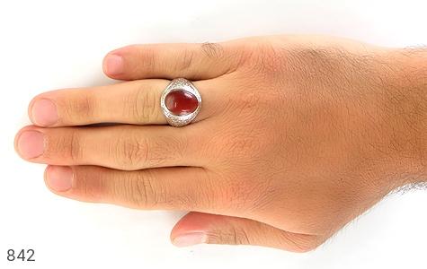 انگشتر الماس و عقیق یمن رکاب دست ساز - تصویر 6
