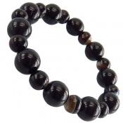 دستبند عقیق سیاه گرد خوش رنگ زنانه