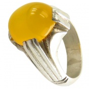 انگشتر عقیق زرد شرف الشمس دست ساز مردانه