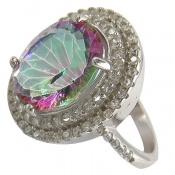 انگشتر توپاز هفت رنگ طرح سلطنتی زنانه