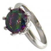 انگشتر توپاز هفت رنگ جواهرنشان زنانه
