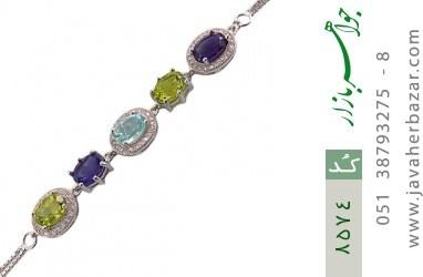 دستبند آمتیست و توپاز و زبرجد طرح پرنسسی زنانه - کد 8574