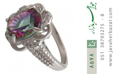 انگشتر توپاز هفت رنگ طرح گل زنانه - کد 8578