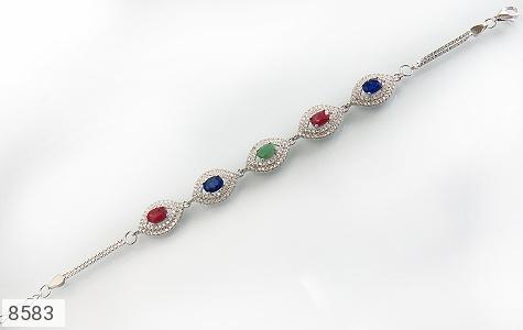 دستبند زمرد و یاقوت سرخ و کبود طرح یگانه زنانه - تصویر 2