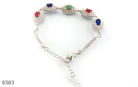 دستبند زمرد و یاقوت سرخ و کبود طرح یگانه زنانه - تصویر 6