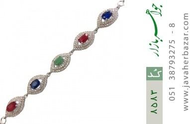 دستبند زمرد و یاقوت سرخ و کبود طرح یگانه زنانه - کد 8583