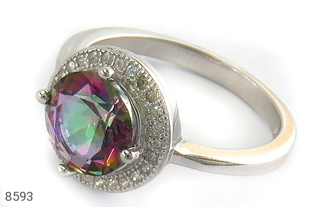انگشتر توپاز هفت رنگ طرح سوگند زنانه - عکس 1
