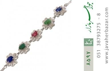 دستبند زمرد و یاقوت سرخ و کبود طرح گل مجلسی زنانه - کد 8597