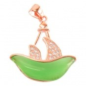 مدال چشم گربه سبز طرح کشتی زنانه