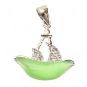 مدال چشم گربه طرح قایق فانتزی زنانه