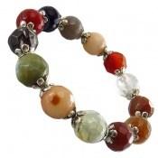 دستبند عقیق و جاسپر رنگین کمانی زنانه
