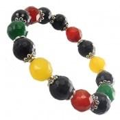 دستبند جید و عقیق رنگارنگ زنانه
