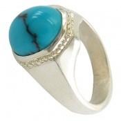 انگشتر فیروزه مصری مرغوب و بسیار خوش رنگ مردانه