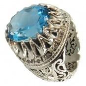 انگشتر توپاز آبی درشت بی نظیر و اشرافی مردانه