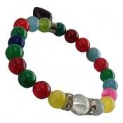 دستبند جید رنگارنگ آویز قلب زنانه