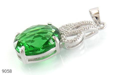 مدال نقره نگین سبز طرح بهار زنانه - عکس 1