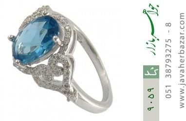 انگشتر نقره نگین آبی درخشان زنانه - کد 9059