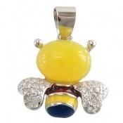 مدال عقیق زرد طرح زنبور میناکاری زنانه