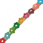 دستبند چرم طبیعی دو رشته ای طرح بهار هنر دست زنانه