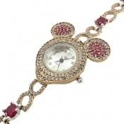 ساعت نقره جید قرمز درخشان طرح فانتزی زنانه