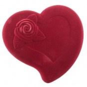 جعبه جواهر مخملی لوکس طرح قلب سایز بزرگ