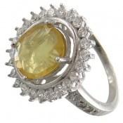 انگشتر یاقوت زرد آفریقایی مرغوب و ارزشمند طرح خورشید زنانه
